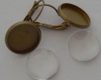 4 pieces: 2 brackets BO bronze antique 2 14mm cabochons