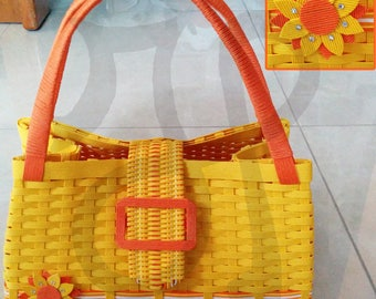 Yellow bag with Sunflower intertwined with Japanese paper