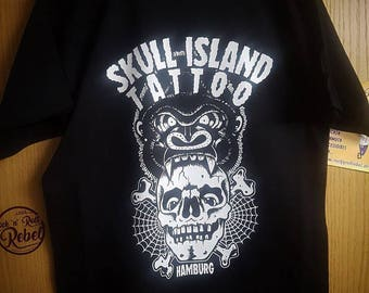 Mens t-shirt skull Island Tattoo