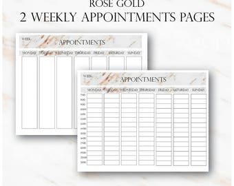 Rose Gold Weekly Appointments, Client Appointments, Salon Appointments, Salon Clients Schedule, Salon Appointments Book, Salon Bookings