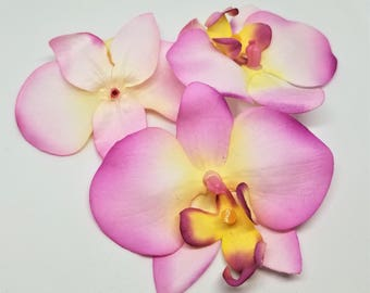 10 Pieces - Pink and Yellow Artificial Orchids Flowers