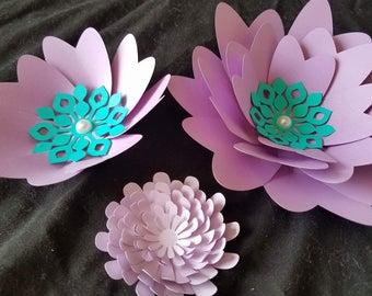 Set of 9 Small Paper Flowers, Purple Paper Flowers, Flower Backdrop