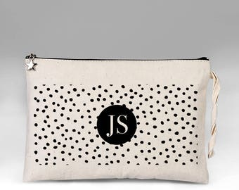 Geometric Makeup Bag, Personalized Makeup Bag, Spots Make Up Bag, Bridesmaid Gift, Makeup Case, Cosmetic Bag, Makeup Organizer, Gift for Her