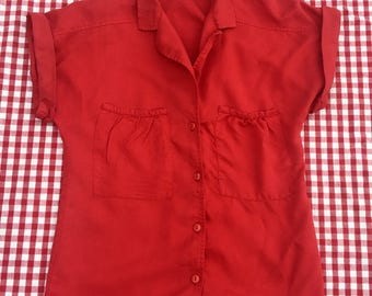 Patty Woodard Vintage Women's Blouse Top- Size S/M double front pockets/button down