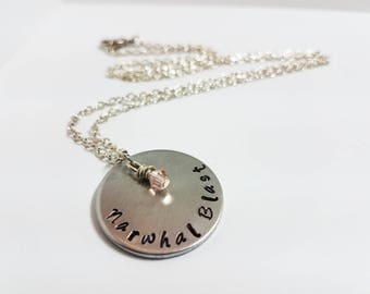 Narwhal Blast Necklace Star Vs. The Forces of Evil Jewelry Hand Stamped Metal Geek Necklace