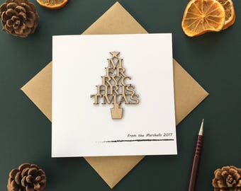 Personalised Christmas Card, laser cut, custom made Merry Christmas tree.