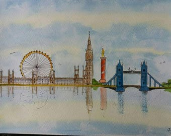 Watercolour painting a4 London Expression