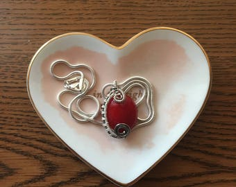 Wire Wrapped Red Acrylic Bead Necklace