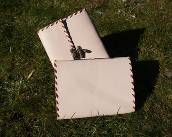 Leather Notebook diary-white Handmade