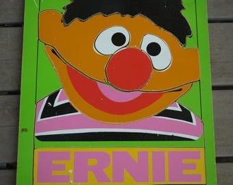 Vintage 1973 Sesame Street Ernie puzzle, wood, Old School Playskool