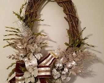 Christmas Grapevine Wreath, Holiday Wreath, Christmas Door Wreath, Christmas Wall Wreath