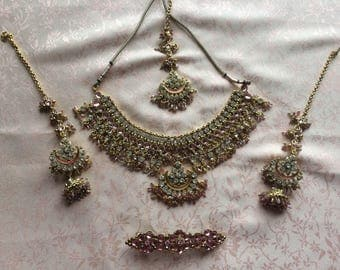 Pink indian kundan Jewellery Earring and necklace & hair clip set