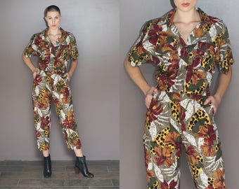 90s Vintage Funky Animal Print Jumpsuit Abstract Cotton Pantsuit Romper