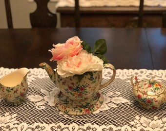 Antique Tea pot with Flowers, creamer and sugar