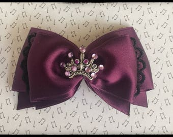 "Barrette ""The Queen in purple"" Purple satin bow"