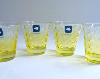 Leonardo Whiskey Drink Glasses Set of 4 Yellow Optic Colored Glass Vintage Germany
