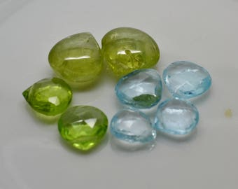 Briolette Lot - 8 beads natural Blue Topaz and Peridot - 8.5mm - 9.5mm