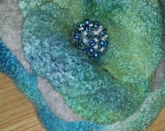 Green and blue felt broosh