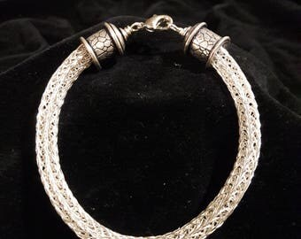 Woven Knit Bracelet Sterling Silver Plated