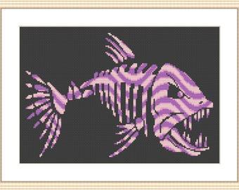Pink Piranha cross stitch chart pattern pdf download