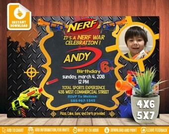 Nerf Invitation,Nerf Birthday,Nerf Birthday Party,Nerf Birthday Invitation,Nerf Party,Nerf Printable,Nerf Personalized,Nerf War-SL567