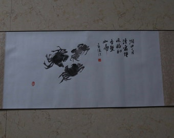 Chinese Ink Painting - Handscroll -Three Crabs