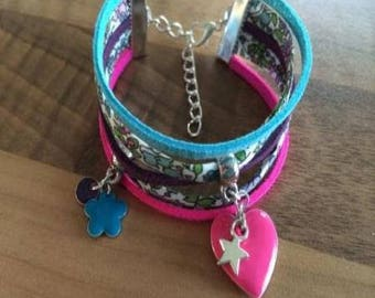 Bracelet 1 round cords multi-row purple, turquoise and pink
