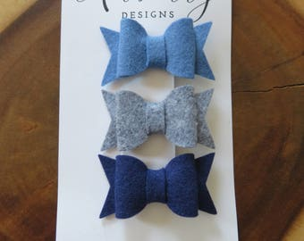 Blue and Gray Felt Bow Set