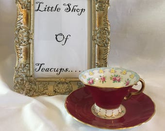 Adderley Fuschia Red Footed Teacup and Saucer