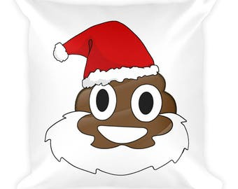 Christmas Poop Emoji Pillow-Santa Poop Emoji-Poop Emoji Gifts-Santa Claus Pillow-Christmas Pillows-Funny Christmas Pillow-Funny Christmas Gi