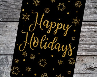 Printable Happy Holidays Card, Printable Cards, Black and Gold, Instant Download
