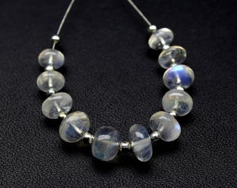 Natural Rainbow Moonstone Round Beads 11 PCs , Size- 6 MM  To 8 MM Approx