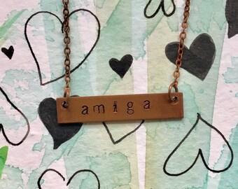 Valentine Gift - Hand metal stamped amiga/friendship bar necklaces by Sun Valley Dandelion