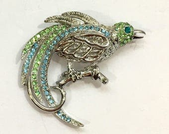 Parrot Silver and Crystal Bird Brooch
