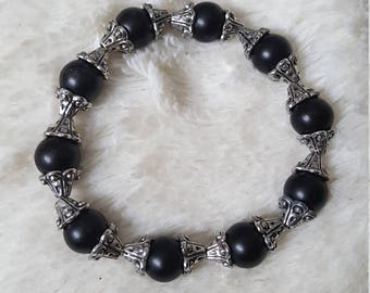 Handmade womens Black Glass beaded bracelet with silver accents, Black Glass beads, women's accessory, victorian bracelet, handcrafted