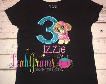 Skye Pup Applique Birthday Shirt