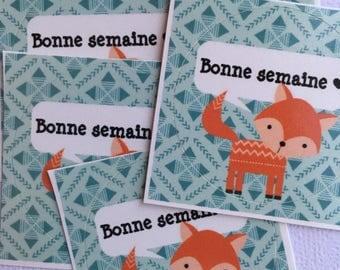 Set of 5 stickers 1.5 inch Fox good week