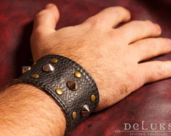 Celtic Leather Bracelet, Viking Bracelet, Men's Leather Wristband, Norse Leather Bracelet, Nordic Leather Bracelet Cuff, Men's Cuff Bracelet