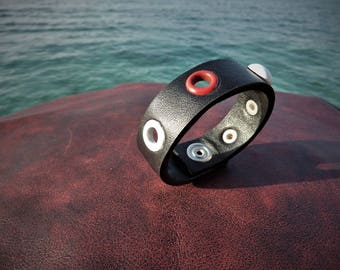 bracelets , combination of artificial and genui leather , stainless rivets , for her , for children