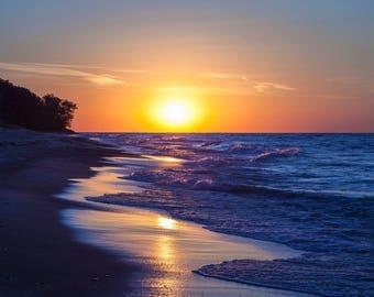 Lake Michigan Beach Sunset Photograph Print 4x6, 4x4, 5x7, 8x8, 8x10, 12x12, 11x14, 16x20