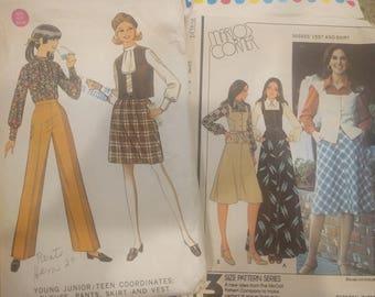 Vintage McCalls pants pattern, Vintage McCalls skirt pattern, McCalls 5714, McCalls 9457, 70s Pattern