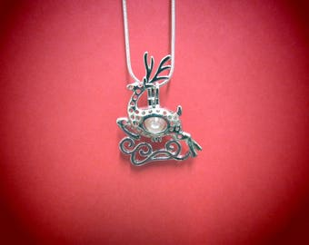 Christmas Reindeer  Pearl Cage Pendant & 1 Akoya Oyster with AAA Pearl(S) *Chain Not Included