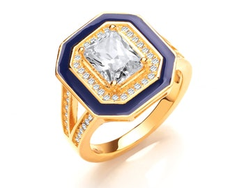 Ladies Georgian Cobalt Blue Enamel Yellow Gold on Silver Emerald Cut Cz Signet Ring