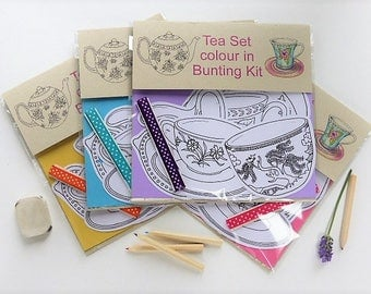Tea Set colour in bunting kit