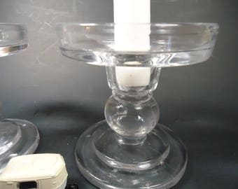 Pair of clear glass candlestick  holder