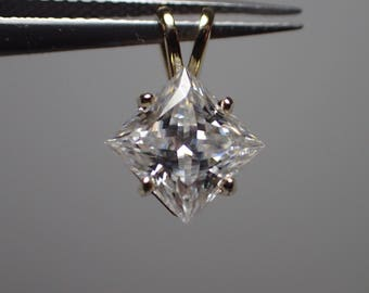 Forever One Colorless D E F  Moissanite Princes Pendant 14ky 6.5mm 1.50 ct Charles & Colvar
