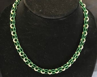 Green and Gold Helm Chainmaille Necklace