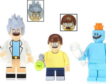Rick and Morty w/ Mr Meeseeks Lego Inspired Custom Minifigures