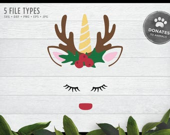 Rudolph Unicorn Face SVG | Unicorn SVG | Cute Reindeer Face Svg Head Clipart Embroidery Design Commercial Use Applique • Dxf • Jpg • Eps Png