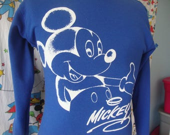 Vintage Mickey Mouse Walt Disney World 90's Blue Crew Neck Sweatshirt Fits Size Small